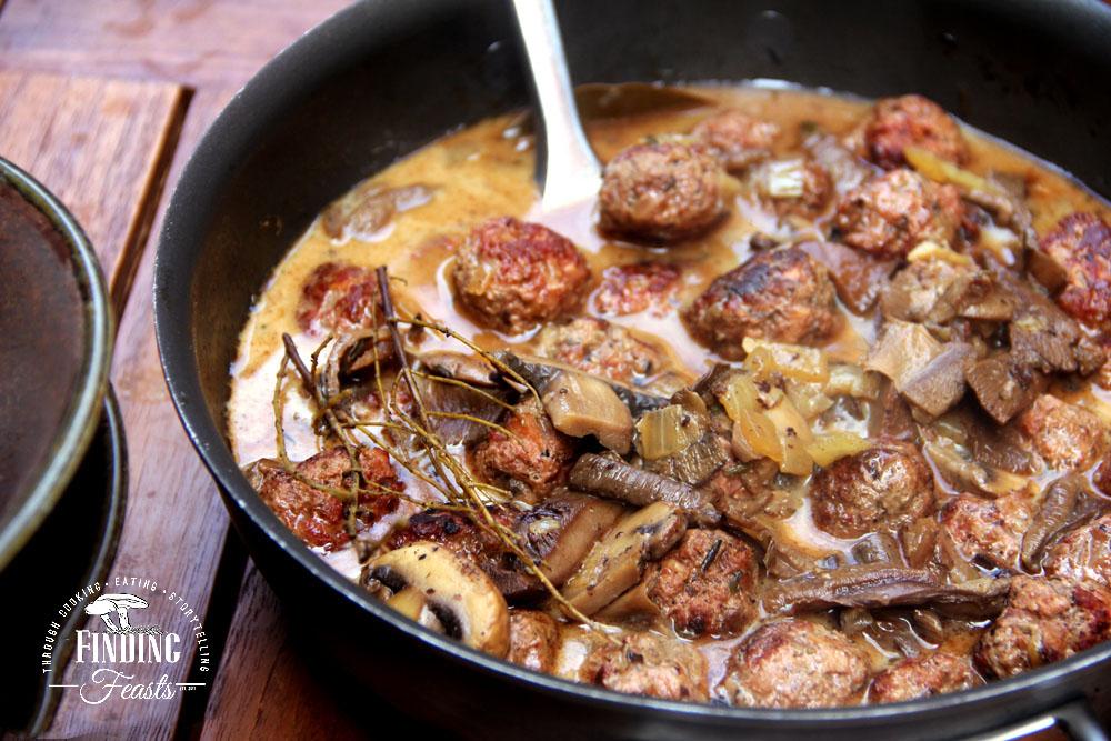 Pork Meatballs w/ Wild Mushroom Sauce