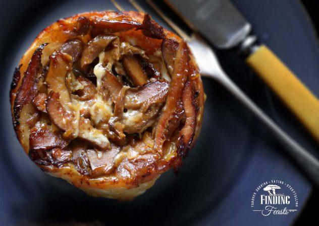 Finding Feasts -Wild Mushroom Tarte Tatin with Taleggio and Vino Cotto Drizzle