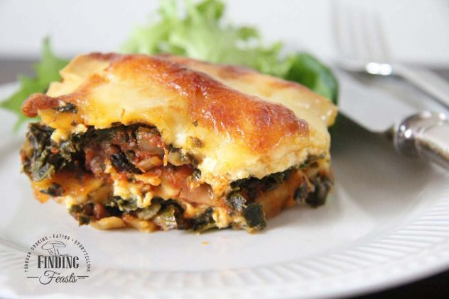 Kale 3 Cheese Lasagna Rich Tomato Mushroom Sauce