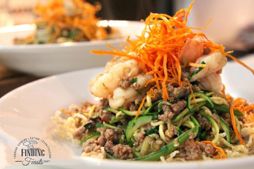 Pork and Prawn Stir Fry w/ Zucchini Noodles and Sweet Potato Sticks