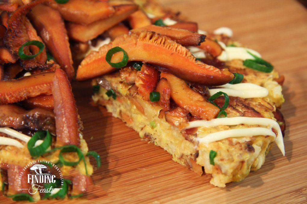 Finding Feasts - Saffron Milk Cap Mushroom Okonomiyaki