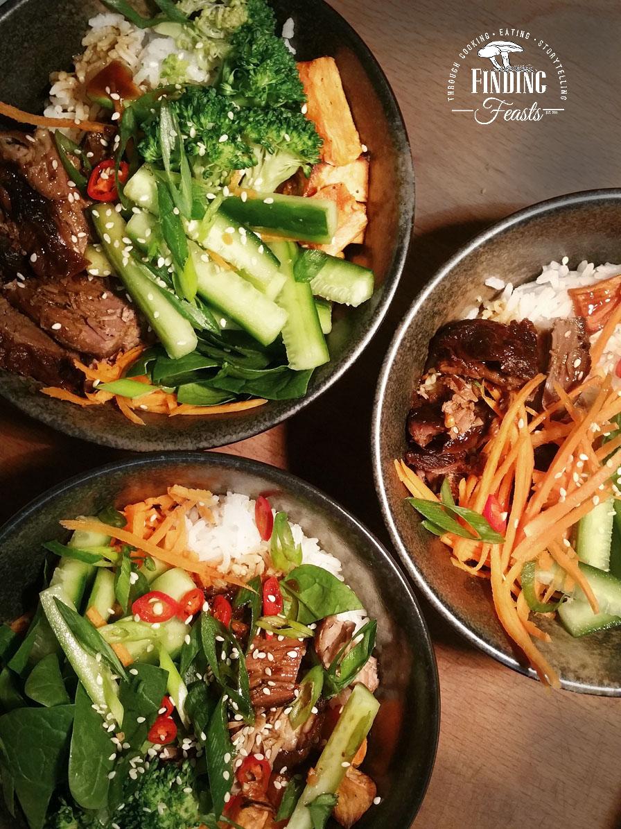 Asian Lamb Rice Bowls w/ Lots of Vegetables