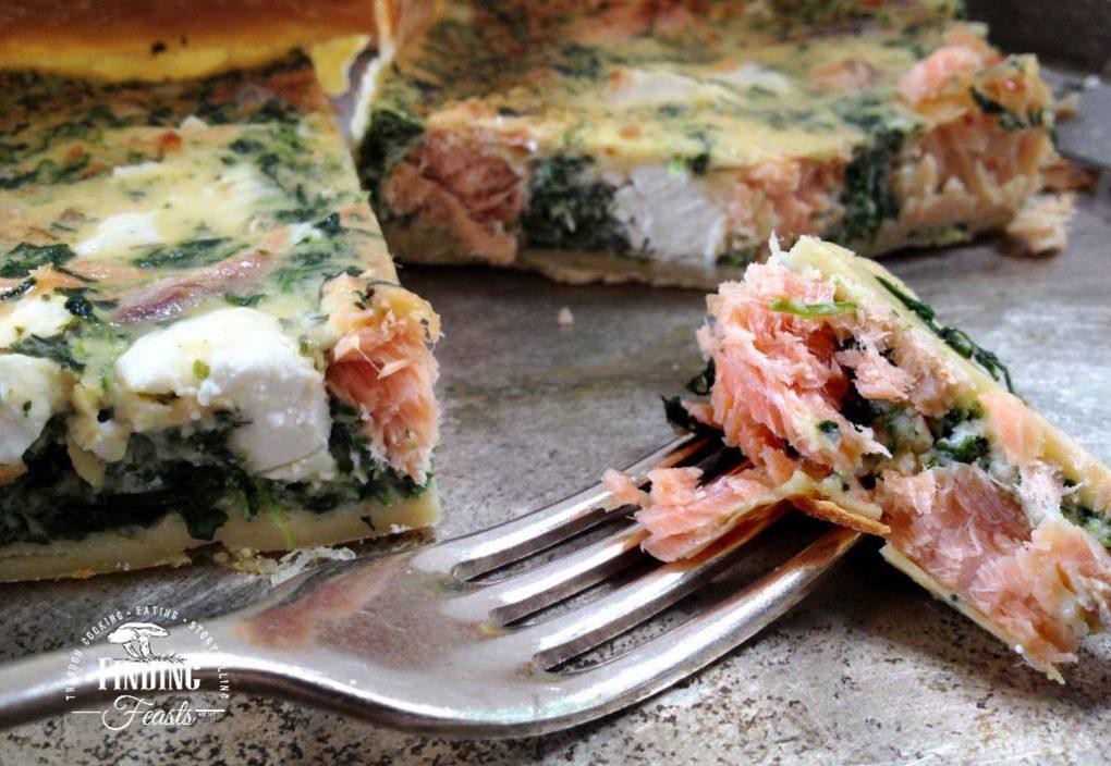 Smoked Salmon, Spinach & Feta Quiche